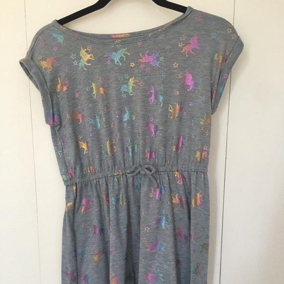 Girls grey rainbow unicorn dress